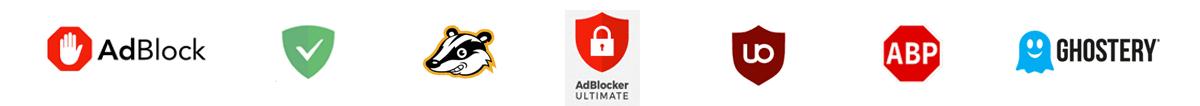 Logos of Popular Adblock Technology Solutions