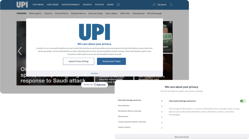 UPI Privacy Consent Management with Admiral CMP